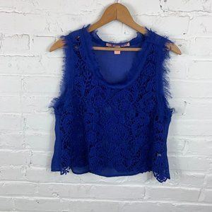 Rebellious One Lace Overlay Tank Top Blue Size L